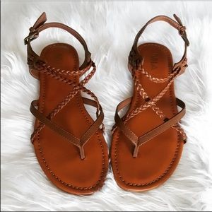 Brown Leather Braided Buckle Strappy MIA Sandles
